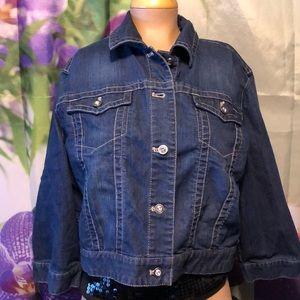 Chico's Platinum Denim Jacket size xl rhinestones